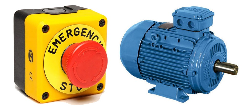 Emergency stopping motors controlled by semi-conductor devices